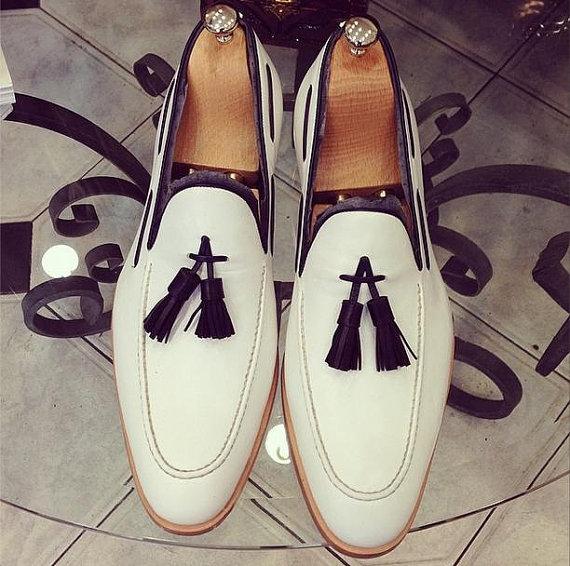 Handmade men White leather shoes, Men genuine leather Moccasins shoes, Men shoes