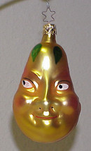 INGE Glass PEAR with a FACE Blown Glass Christmas Ornament GERMANY - $29.99