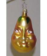 INGE Glass PEAR with a FACE Blown Glass Christmas Ornament GERMANY - $20.00