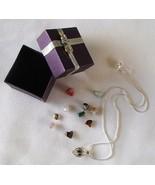 11 Gemstone Crystals Cage Necklace Hollow Filig... - $14.99