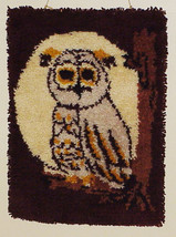 Vtg Completed Latch Hook Owl Rug 19x26 Wall Art... - $9.99
