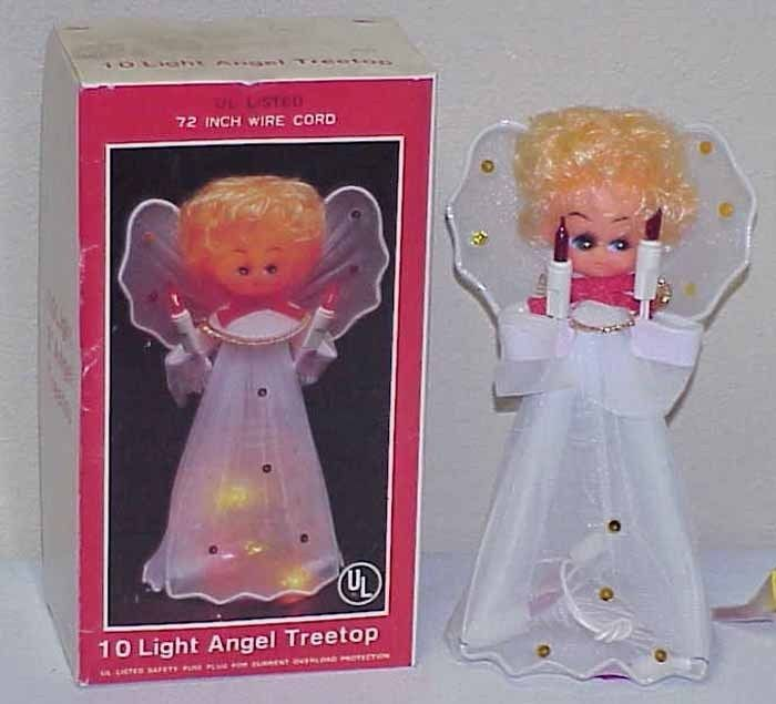 Vtg LIGHTED Christmas Angel Tree Topper IOB - Taiwan
