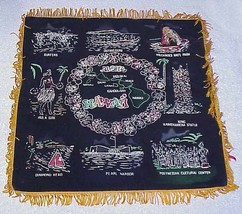 Vtg HAWAIIAN Souvenir Pillow Cover - Black Velvet Hawaii - $12.19