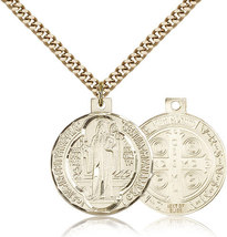 ST. BENEDICT MEDAL - Gold Filled Medal & Chain - 0027B