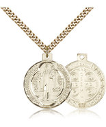 ST. BENEDICT MEDAL - Gold Filled Medal & Chain - 0027B - $106.99
