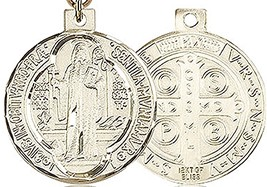 ST. BENEDICT MEDAL - Gold Filled Medal & Chain - 0027B image 2