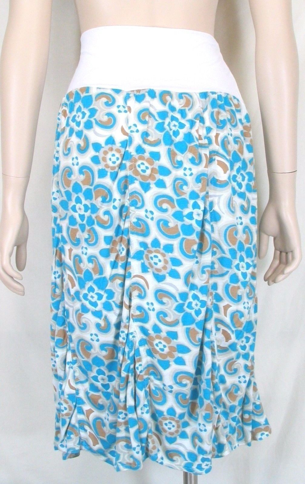 Surrealist skirt NWT M foldover waist ruched bottom white turquoise gold USA new