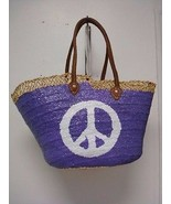 French Market Basket Sparkling Sequin Peace Sign Leather Straw Tote Bag ... - $55.00