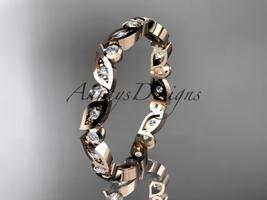 14k rose gold diamond leaf and vine wedding band, engagement ring ADLR13B  - $885.00