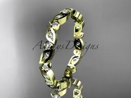 14k yellow gold diamond leaf and vine wedding band, engagement ring ADLR13B - $885.00