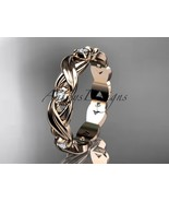 Rose gold wedding band,14kt rose gold diamond engagement ring,  nature i... - $795.00