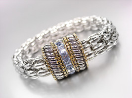 Designer Silver Cables Gold Light Blue Crystals Magnetic Mesh Chain Brac... - €16,81 EUR