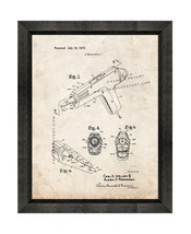 Glue Gun Patent Print Old Look with Beveled Wood Frame - $24.95+