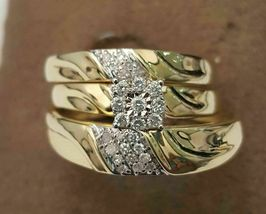 His/Her 2.10CT Diamond Wedding Ring Band Trio Bridal Set 14K Yellow Gold... - $164.99