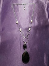 Vintage Faux Pearl Black Bead Chain Link Necklace - $19.80