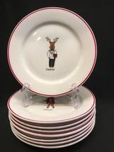 "Santa's Reindeer 8-1/4"" Salad/Dessert Plates Complete Set Of 8 LTD Commo... - $34.99"