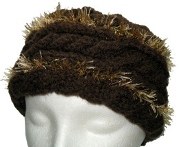 Brown Hand Knit Hat with Gold Highlights - $25.00