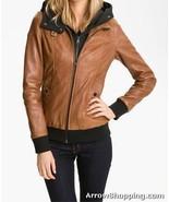 Women Leather Jacket Brown Slim Fit Bomber Jacket With Black Hood - $124.99
