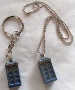 Dr. Who 3D Tardis Ball Chain Necklace Keyring Set 2 Pewter Alloy Police ... - $11.99
