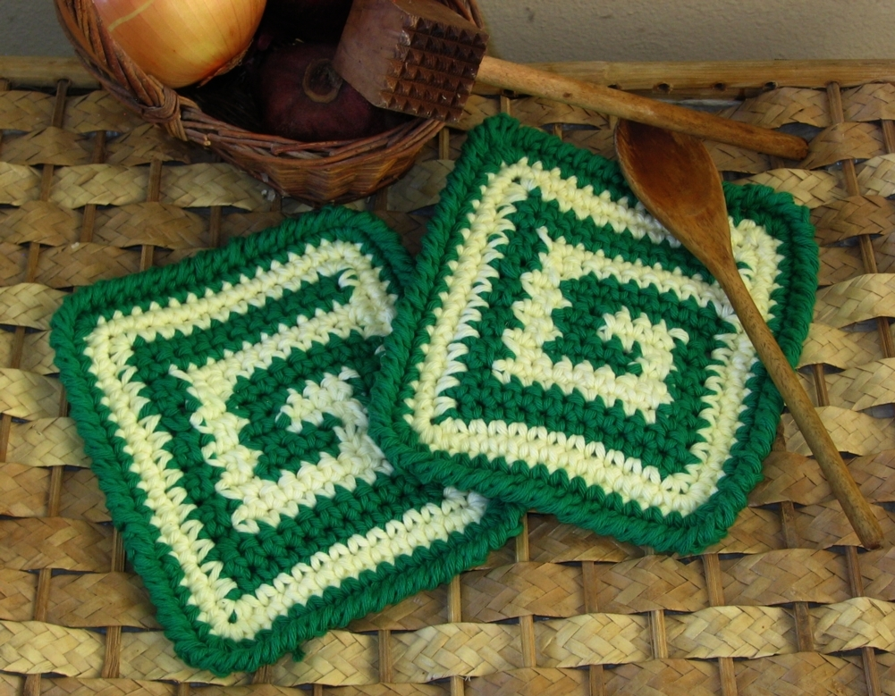 Green and Ivory Cloth, Potholder, Hot Pad Set - Handmade by RSS Designs In Fiber