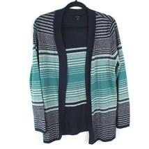 Talbots Open Front Cardigan Sweater Women's Size M Silver Metallic Embel... - $13.51