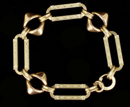 Antique Art Deco 1/20 12k GF Gold Filled Engraved Unusual Link Bracelet ... - $206.99