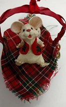Merry Chrismouse in Basket Ornament (Plaid) - $15.00