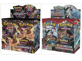Pokemon TCG Sun Moon Forbidden Light + Crimson Invasion Booster Box Card... - $209.99