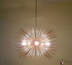"""Modern Brass Large Sputnik Chandelier - 5 Bulbs Urchin Chandelier - 30"""" ... - £321.55 GBP"""