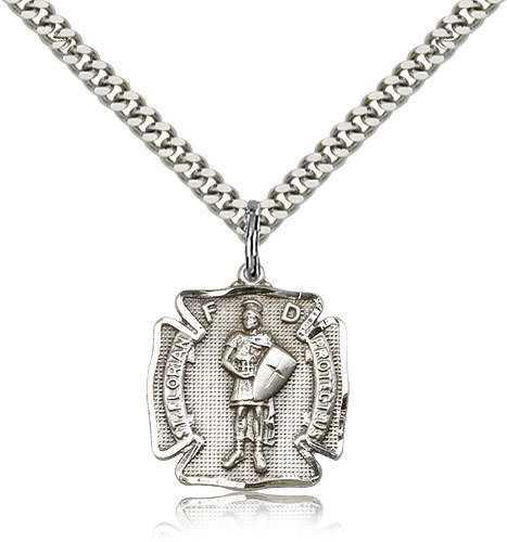 Primary image for ST. FLORIAN MEDAL  - Sterling Silver Medal & Chain