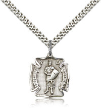 ST. FLORIAN MEDAL  - Sterling Silver Medal & Chain - $52.99