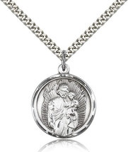 ST. JOSEPH - Sterling Silver Pendant on a 24 inch Light Rhodium Heavy Curb Chain