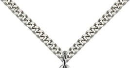 ST. JOSEPH - Sterling Silver Pendant on a 24 inch Light Rhodium Heavy Curb Chain image 3