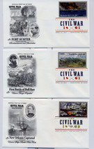 THE CIVIL WAR FIRST DAY COVER WITH DIGITAL COLOR POSTMARKS SET OF 10 - $45.00