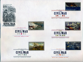 THE CIVIL WAR 10 STAMPS DIGITAL COLOR POSTMARK FIRST DAY OF ISSUE COVER ... - $40.00