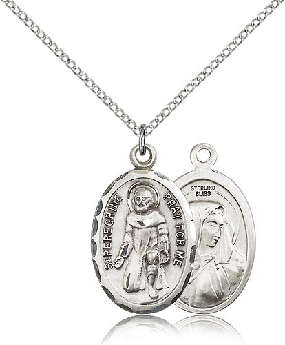 Primary image for ST. PEREGRINE - Sterling Silver Medal & Chain - 0046P