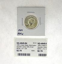 1964 United States Washington Quarters Dollar 90% Silver RATING: (F) Fine (N2-49 image 1