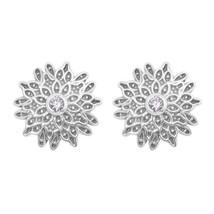 925 Sterling Silver Round Cut Cubic Zirconia Gemstone Circle Design Stud... - $26.17