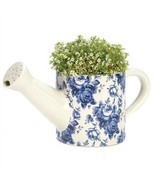 Flower Pot Ceramic Watering Can Blue and White Floral - £13.51 GBP