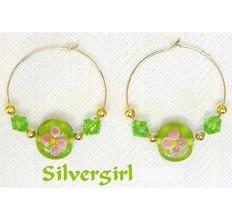 "1 1/2"" Gold Plate Green Flower Beaded Hoop Earrings  - $9.99"