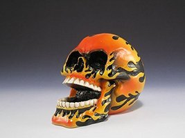 "Flaming Hot Fire Skull Open Mouth w/ Teeth Mini Figurine 3.5"" H - $16.83"