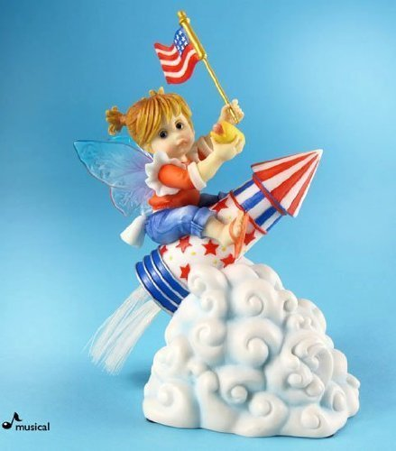 My Little Kitchen Fairies From Enesco Patriotic Rocket Fairie Musical 5.5 IN