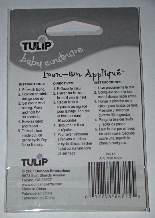 """TULIP baby couture - Iron-On Applique """"Mini Moon"""" - Lot of 3 (NEW)"""