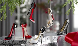Set of 6 Stiletto Shoe Hanging Christmas Tree Ornaments Polyresin NEW