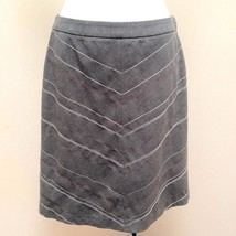 Ann Taylor 2 Skirt Gray Embroidered Chevron Striped Career - $19.58