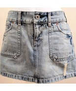 American Eagle 6 Skirt Blue Denim Distressed Micro Mini - $11.74
