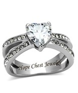 WOMEN'S STAINLESS STEEL 3 PRONG HEART SHAPE CZ ENGAGEMENT RING - SIZE 5- 10 - $12.59