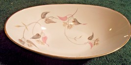 """Noritake China Oval Vegetable 10"""" Bowl in Arden Japan Flowers white pinks grey - $27.95"""