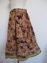 Cynthia Steffe Floral Boho Skirt 10 100% Cotton Metallic Lace Embroidery - $16.82