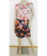 Nwt Vertigo Nota Pleated Streaming Floral  Satin Dress Sz XL X-Large Bla... - $79.15